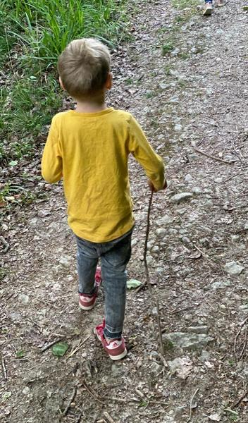 Grayson has used his stick as a walking stick.