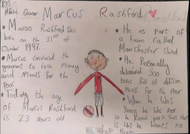 Marcus Rashford by Alayah in Rose Class