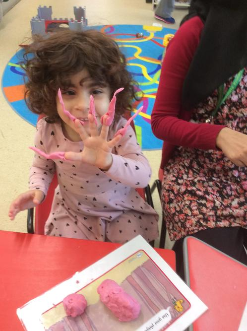 We used modelling clay to make scary fingernails.