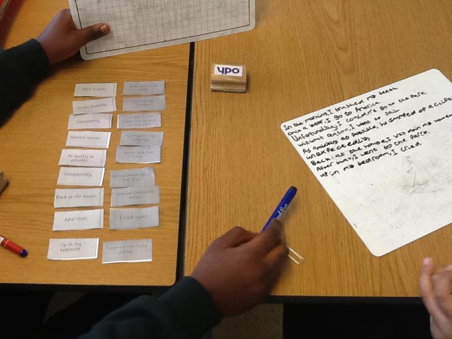 Connecting fronted adverbials in sentences