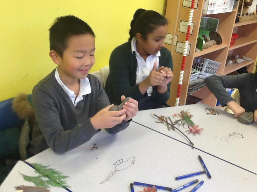Creating woodland animals.