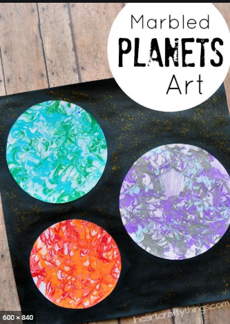 Make a planet using marble art