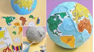 Paper Mache Earth - paint and label the continents