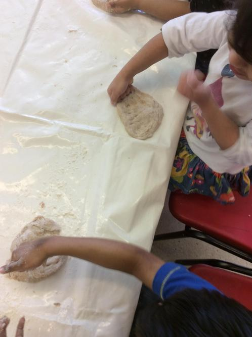 We kneaded the dough, and rolled it into balls.