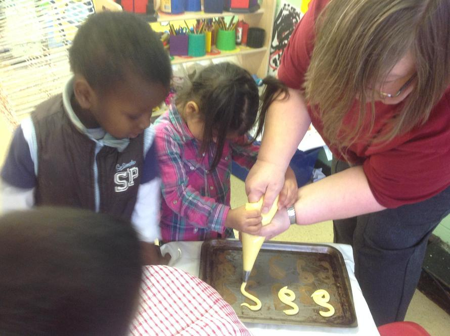 """We piped the mixture into """"s"""" shapes."""