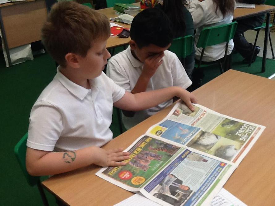 Looking at newspapers