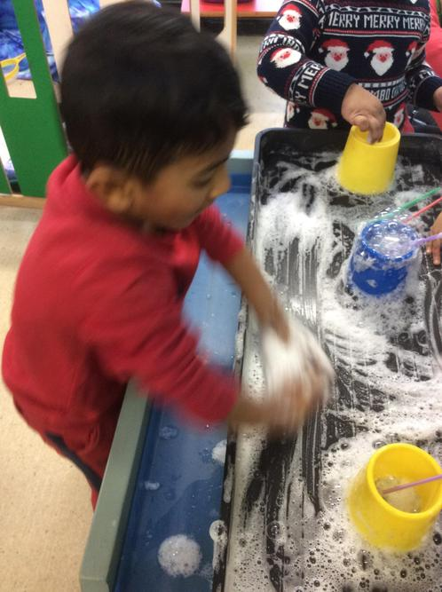 We imitated washing our hands using the bubbles