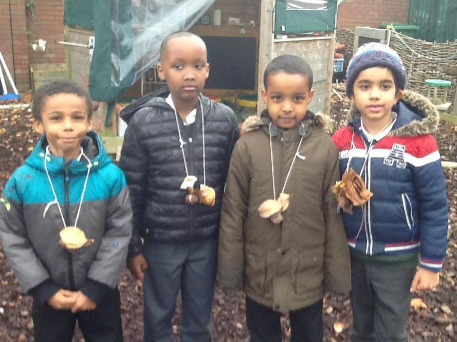 Woodland necklaces were made.