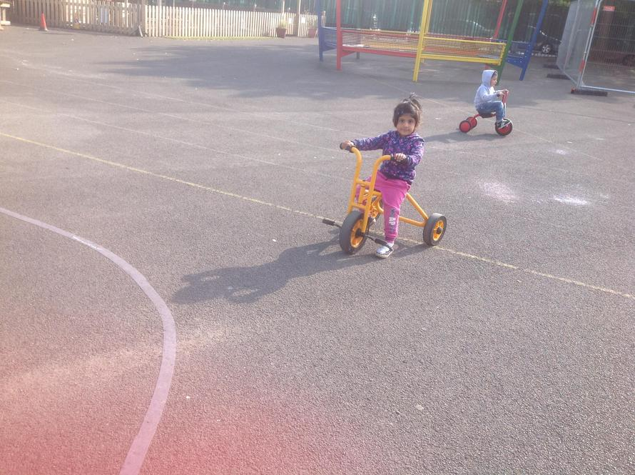 We played on our new bikes when the sun shone.