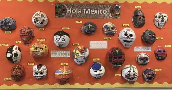 Year 6 made mask as part of the Hola Mexico topic