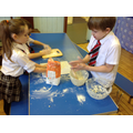 Using flour to help.