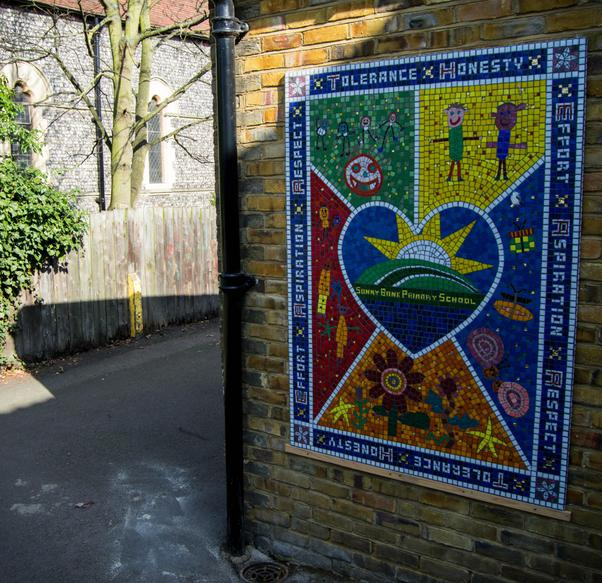 Our values mosaic designed and made by all the children at our Church Road site.