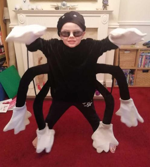 Ben as an amazing spider.