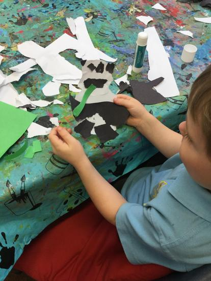 Torn paper panda collage in Year 1