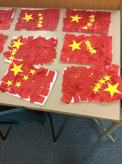 We used collage skills to make these flags