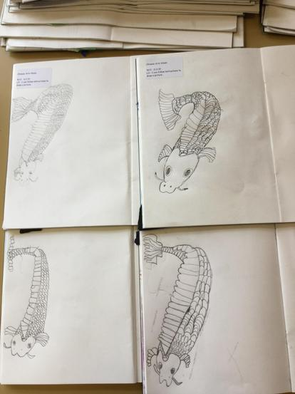 Detailed drawings of carp in Year 2