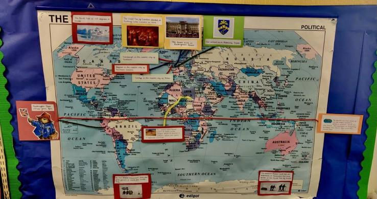 Our world map shows us where different things we have learnt about are located.