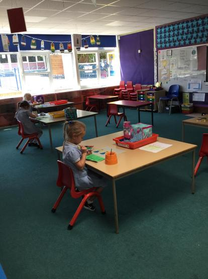 We enjoyed painting at our own table in Year 1