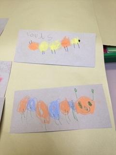 Colourful caterpillar art in Reception