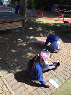 Making Reception outside area colourful!