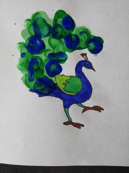 Ben's finger Painted Peacock
