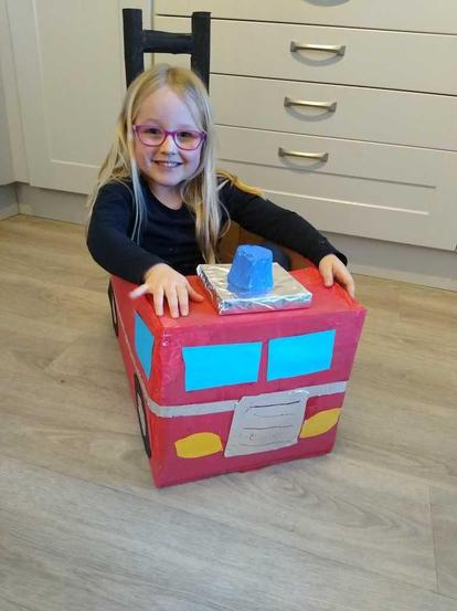 Bonnie driving her completed model.