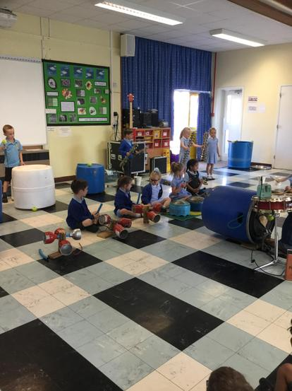 The big plastic tubs made great drums!