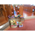 Some harvest baskets in church