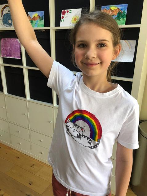 J made her own t-shirt to celebrate