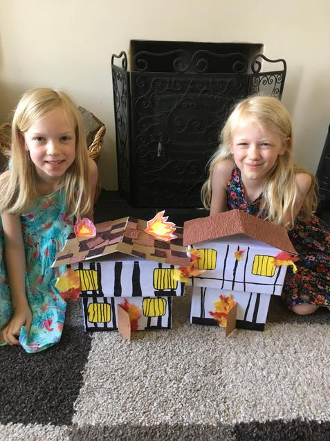 H and J with their houses. The fire is brilliant!