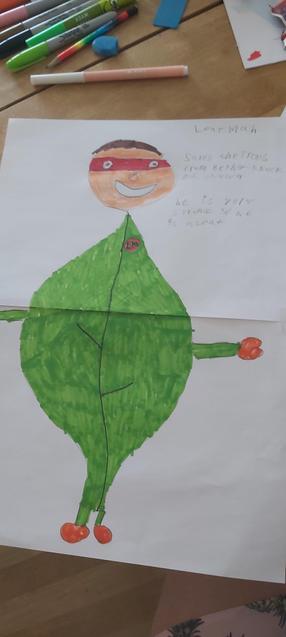 Jake created Leaf Man - an Eco Superhero