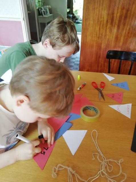 Making bunting in the red, white and blue
