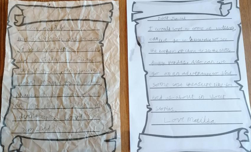 Jasmine's letter from Jim-Lad and Matilda.