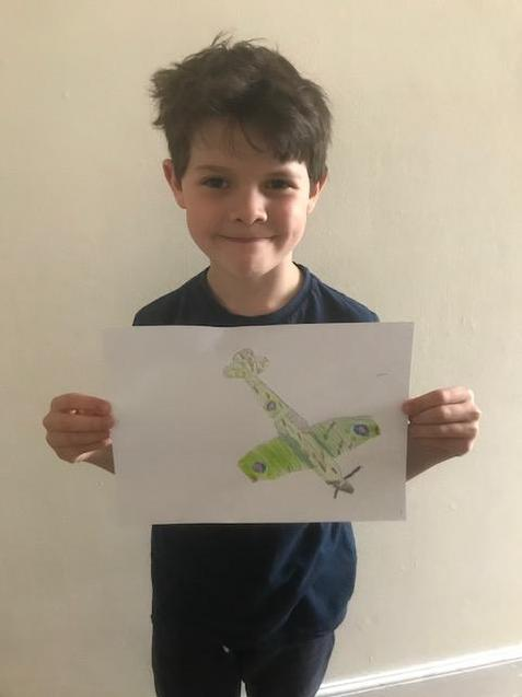 T and his super spitfire drawing