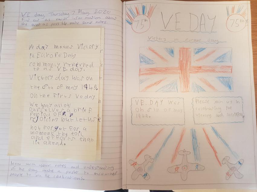 Alfie has drawn his own commemorative poster.
