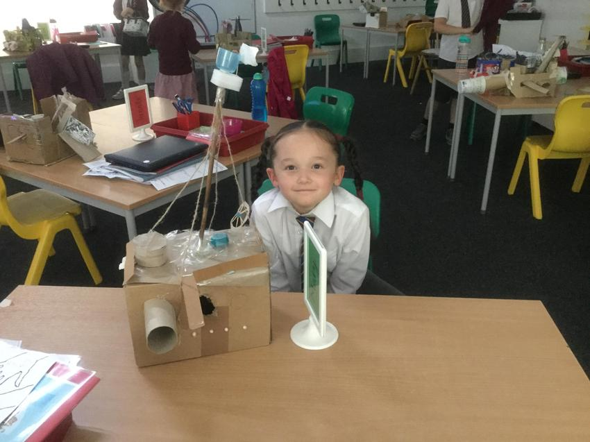 M and her ship with a very tall mast!