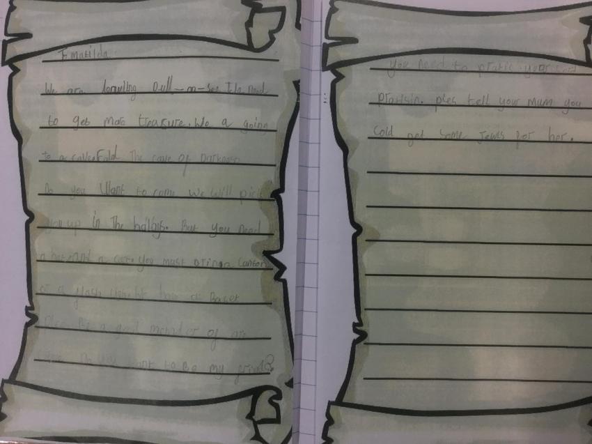 Imogen's letter to Matilda.