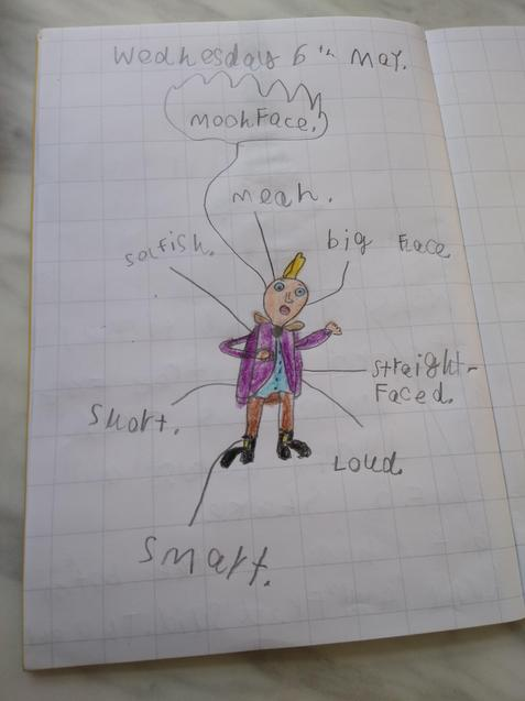 Louis' amazing Moon-Face drawing and labelling
