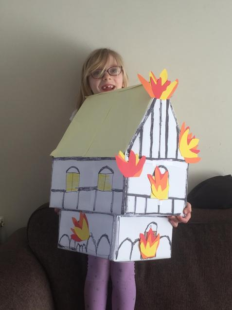 E and her amazing Fire of London house.