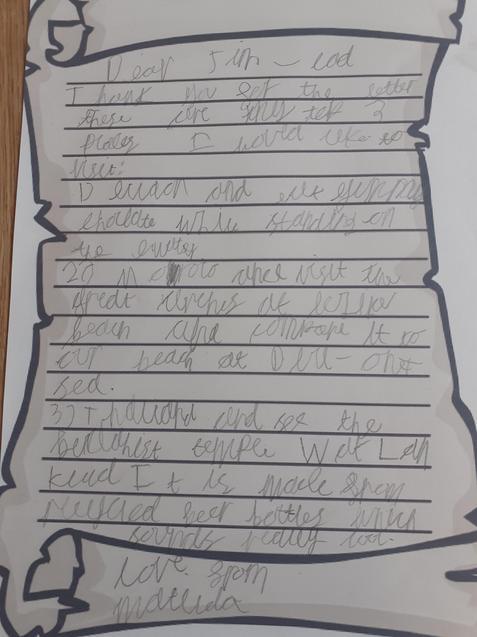 Sam's fabulous letter from Matilda.