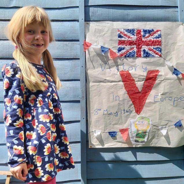 VE Day poster, look at the fab tissue paper detail