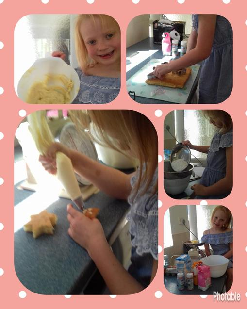 E making her funky shaped cakes!