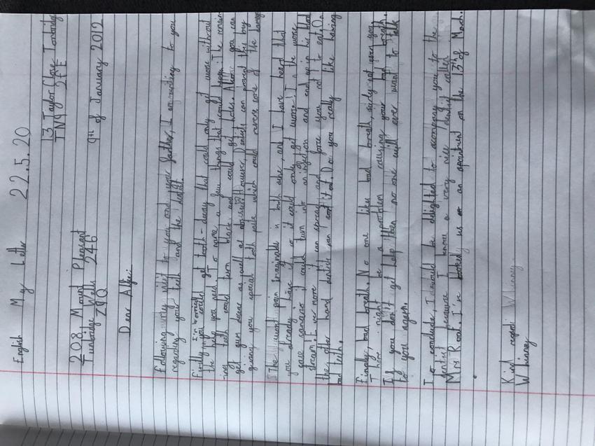 Luke's persuasive letter to Alfie