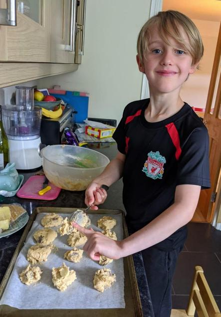 S looking chuffed with his mixture.
