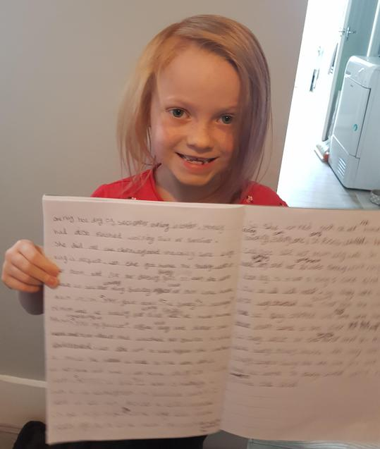E is very proud of her writing.