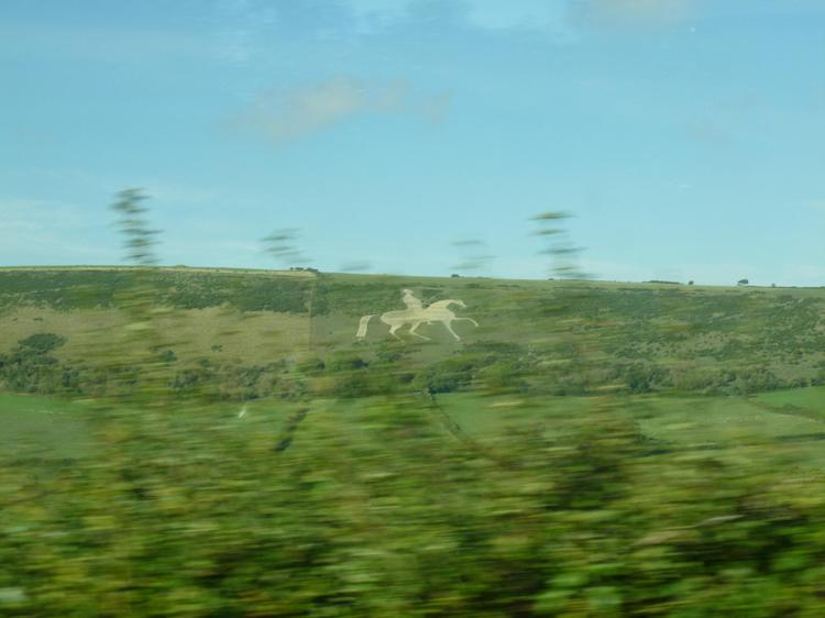 The white horse of Osmington - view from coach