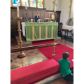 Alison preparing the Holy Communion table