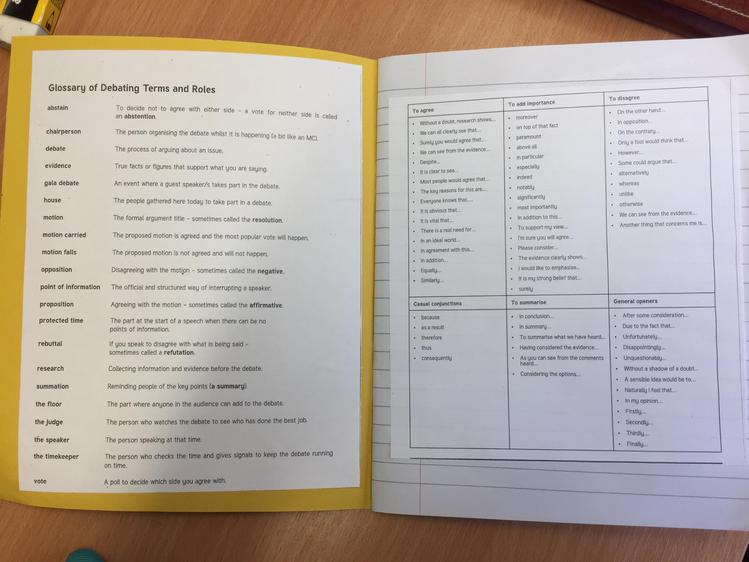 Glossary and sentence starters used in the teaching of formal speech