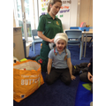 Mrs Sanderson showed us how to use bandages.