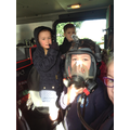 We tried on the breathing apparatus, it was heavy!